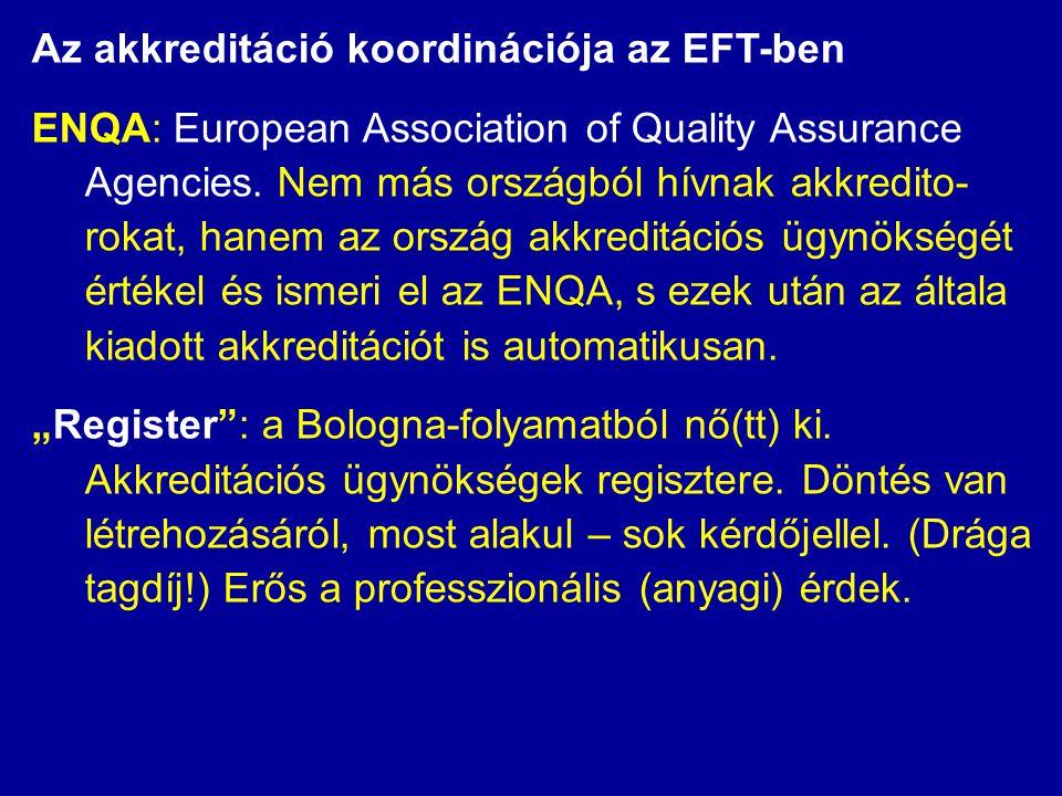 Az akkreditáció koordinációja az EFT-ben ENQA: European Association of Quality Assurance Agencies. Nem más országból hívnak akkredito- rokat, hanem az