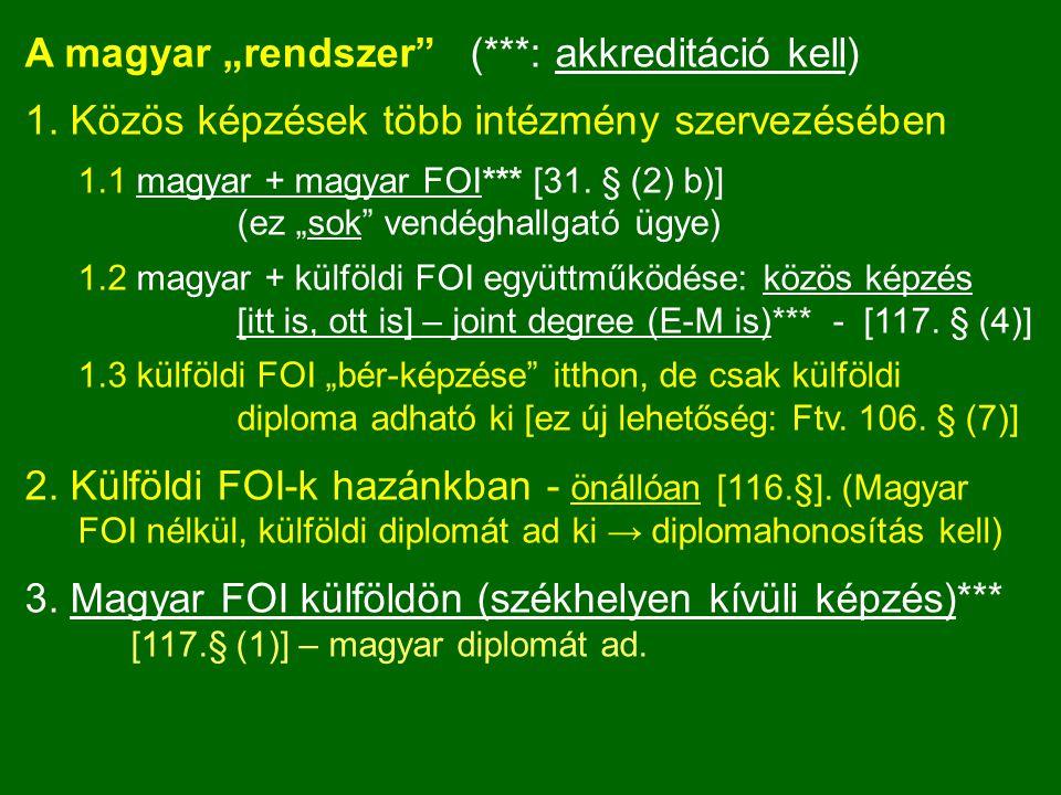 """A magyar """"rendszer"""" (***: akkreditáció kell) 1. Közös képzések több intézmény szervezésében 1.1 magyar + magyar FOI*** [31. § (2) b)] (ez """"sok"""" vendég"""