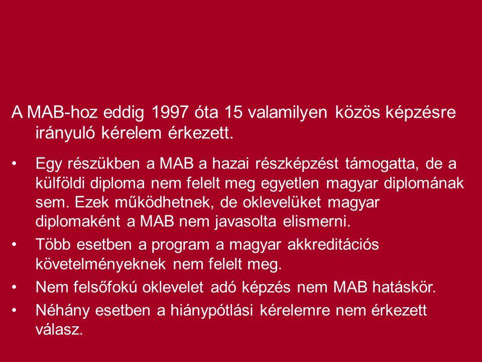 A MAB-hoz eddig 1997 óta 15 valamilyen közös képzésre irányuló kérelem érkezett. •Egy részükben a MAB a hazai részképzést támogatta, de a külföldi dip