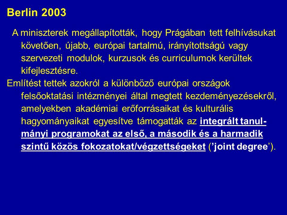 Berlin 2003 A miniszterek megállapították, hogy Prágában tett felhívásukat követően, újabb, európai tartalmú, irányítottságú vagy szervezeti modulok,