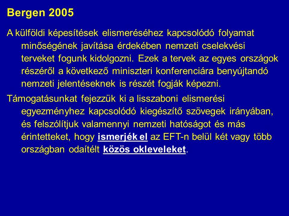 Bergen 2005 A külföldi képesítések elismeréséhez kapcsolódó folyamat minőségének javítása érdekében nemzeti cselekvési terveket fogunk kidolgozni. Eze