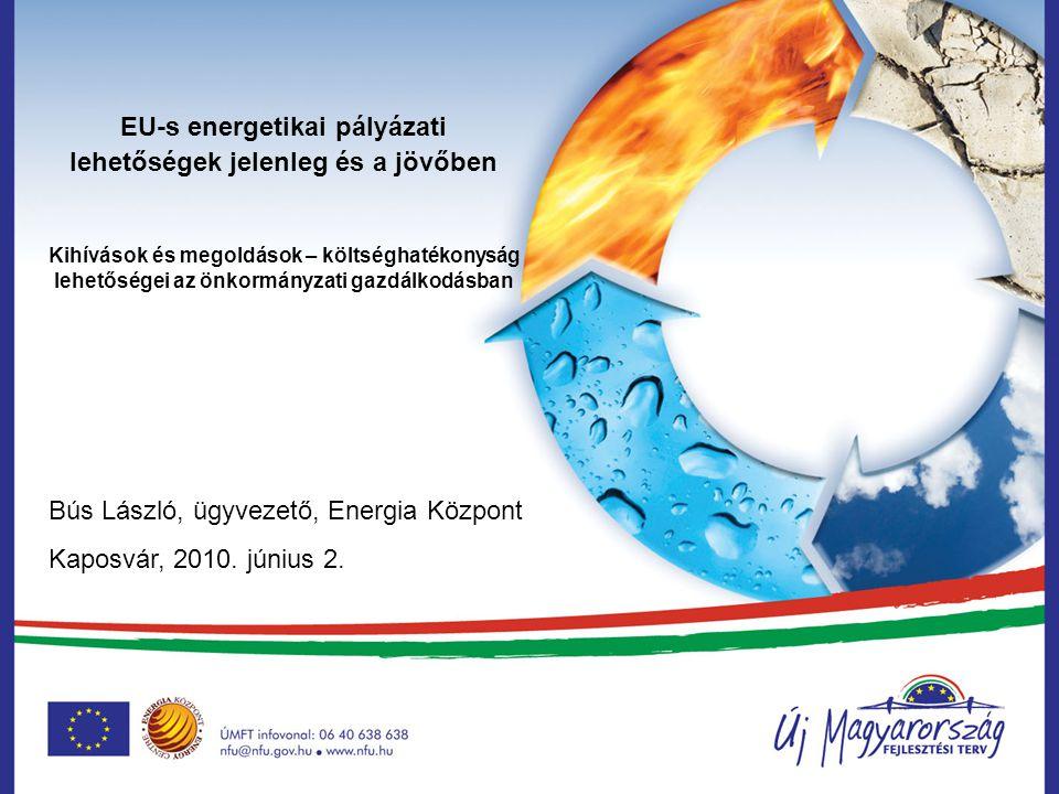 KEOP 2010. évi energetikai pályázati lehetőségek, tapasztalatok, eredmények Bús László, ügyvezető, Energia Központ Nonprofit Kft. Debrecen, 2010. janu