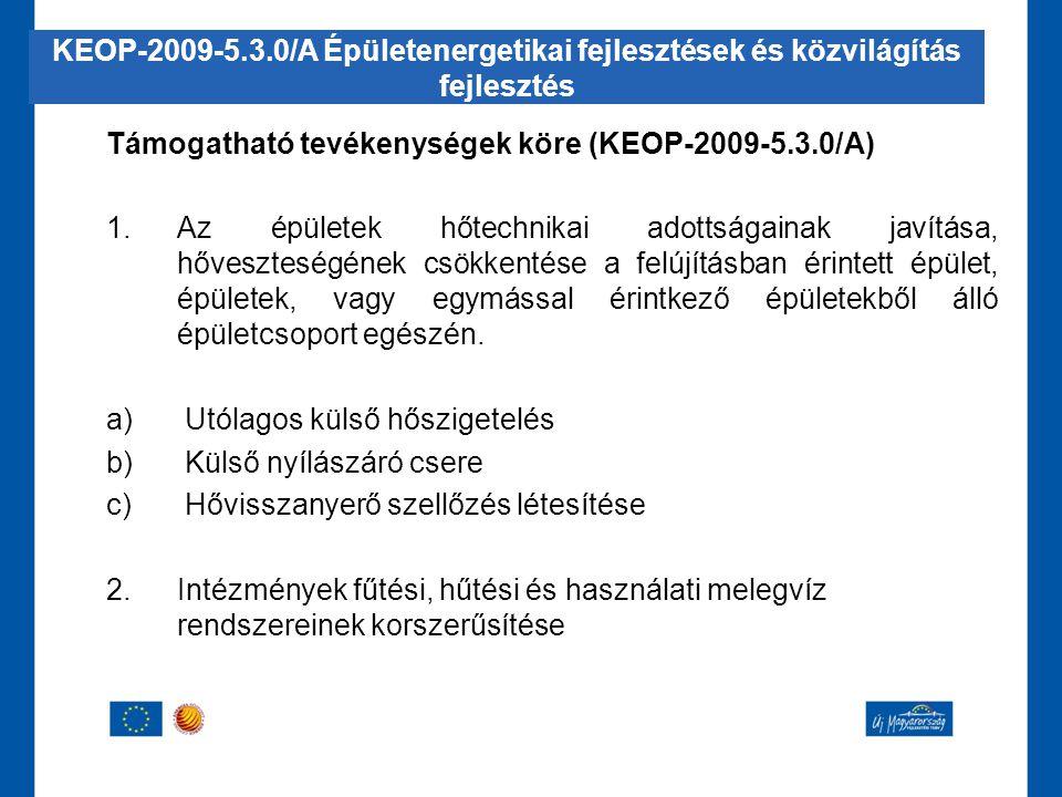 Támogatható tevékenységek köre (KEOP-2009-5.3.0/A) 1.Az épületek hőtechnikai adottságainak javítása, hőveszteségének csökkentése a felújításban érinte