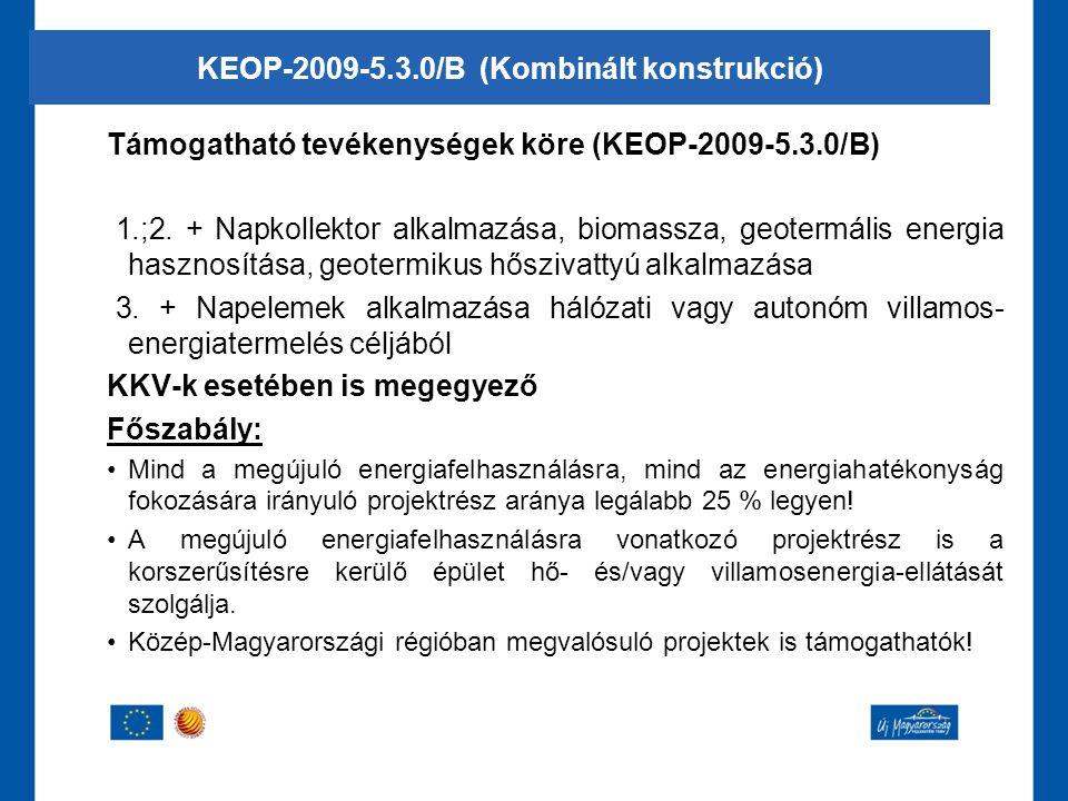 Támogatható tevékenységek köre (KEOP-2009-5.3.0/B) 1.;2. + Napkollektor alkalmazása, biomassza, geotermális energia hasznosítása, geotermikus hőszivat