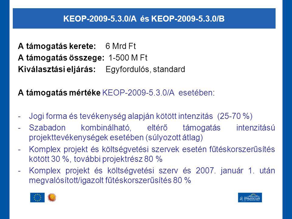 A támogatás kerete:6 Mrd Ft A támogatás összege: 1-500 M Ft Kiválasztási eljárás:Egyfordulós, standard A támogatás mértéke KEOP-2009-5.3.0/A esetében:
