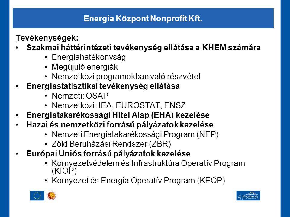 Tevékenységek: •Szakmai háttérintézeti tevékenység ellátása a KHEM számára •Energiahatékonyság •Megújuló energiák •Nemzetközi programokban való részvé