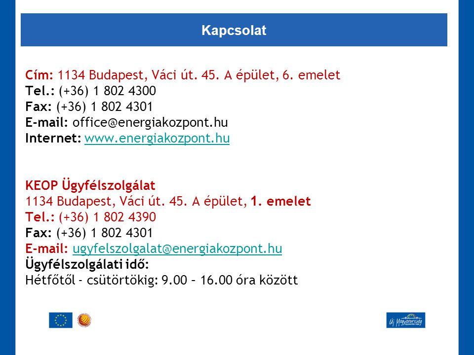 Cím: 1134 Budapest, Váci út. 45. A épület, 6. emelet Tel.: (+36) 1 802 4300 Fax: (+36) 1 802 4301 E-mail: office@energiakozpont.hu Internet: www.energ