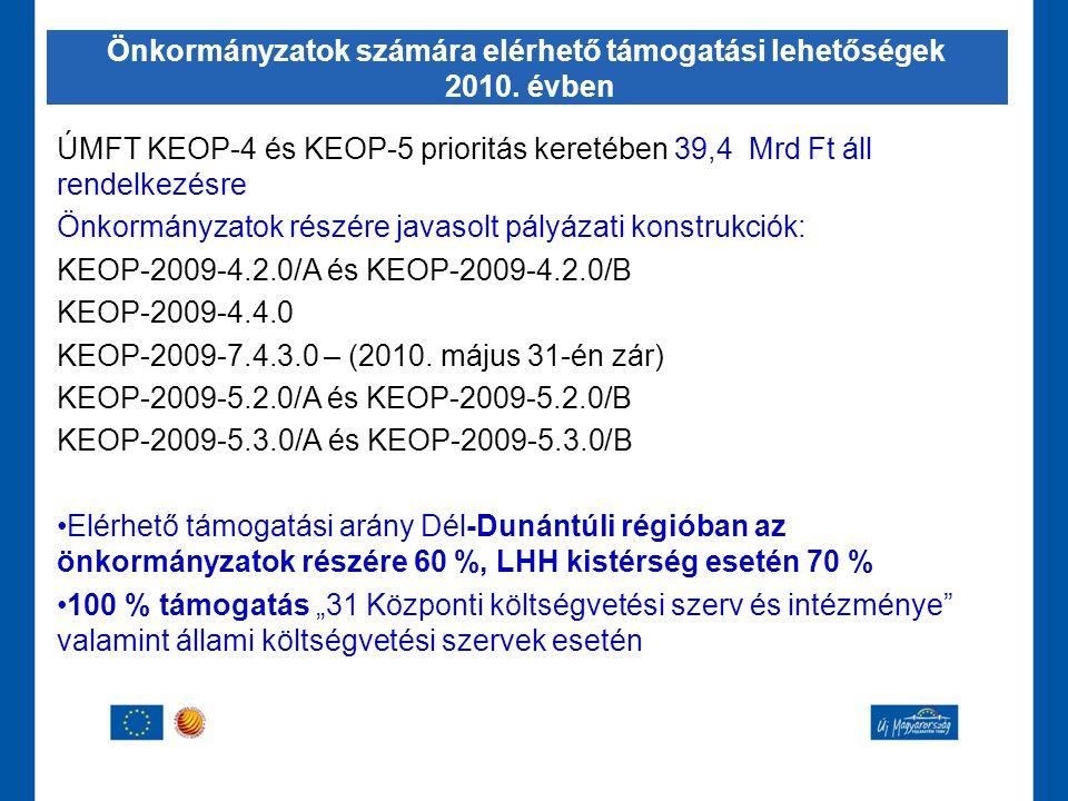 ÚMFT KEOP-4 és KEOP-5 prioritás keretében 39,4 Mrd Ft áll rendelkezésre Önkormányzatok részére javasolt pályázati konstrukciók: KEOP-2009-4.2.0/A és K