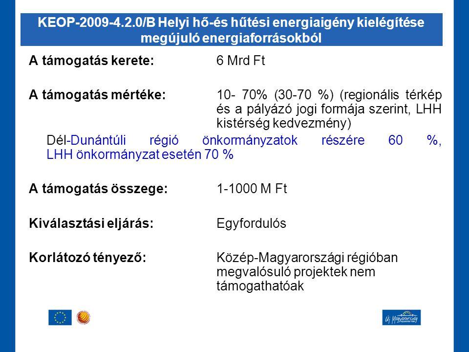 A támogatás kerete:6 Mrd Ft A támogatás mértéke:10- 70% (30-70 %) (regionális térkép és a pályázó jogi formája szerint, LHH kistérség kedvezmény) Dél-