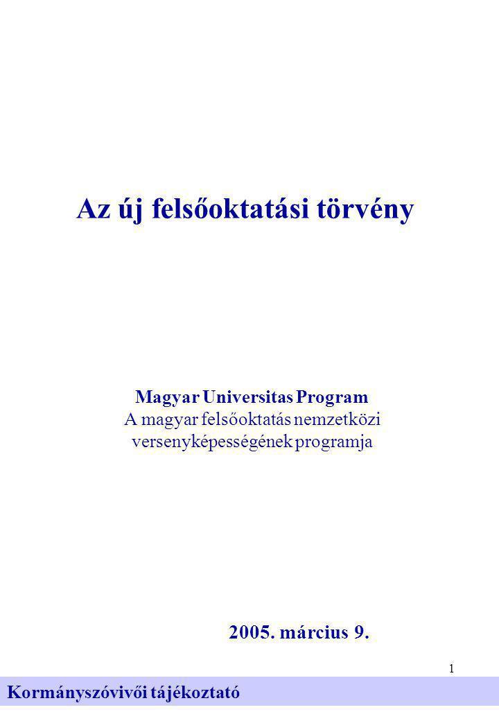 1 Kormányszóvivői tájékoztató Az új felsőoktatási törvény 2005.