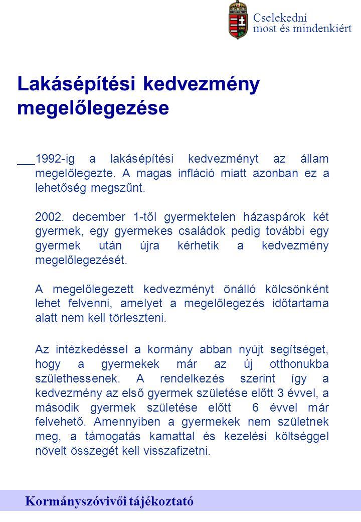 Cselekedni most és mindenkiért Kormányszóvivői tájékoztató Lakásépítési kedvezmény megelőlegezése 1992-ig a lakásépítési kedvezményt az állam megelőlegezte.