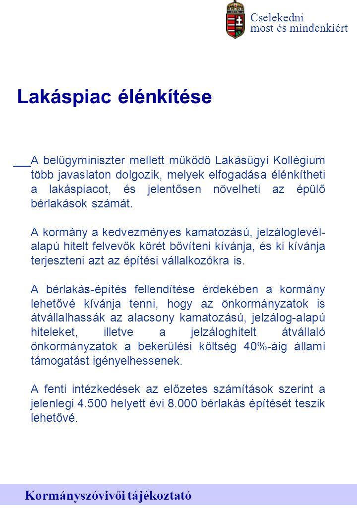 Cselekedni most és mindenkiért Kormányszóvivői tájékoztató Lakáspiac élénkítése A belügyminiszter mellett működő Lakásügyi Kollégium több javaslaton dolgozik, melyek elfogadása élénkítheti a lakáspiacot, és jelentősen növelheti az épülő bérlakások számát.