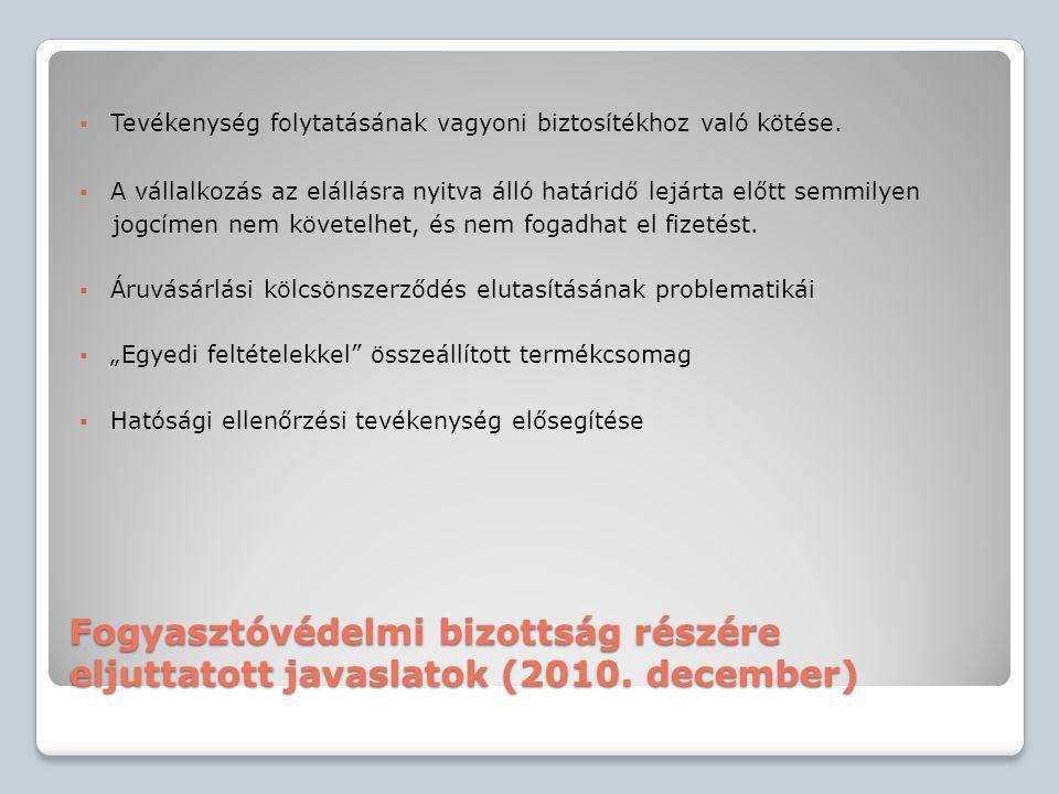 Fogyasztóvédelmi bizottság részére eljuttatott javaslatok (2010. december)  Tevékenység folytatásának vagyoni biztosítékhoz való kötése.  A vállalko