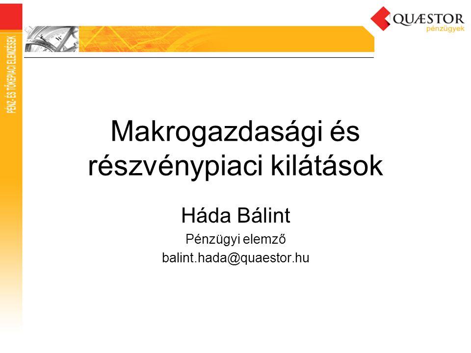 Makrogazdasági és részvénypiaci kilátások Háda Bálint Pénzügyi elemző balint.hada@quaestor.hu