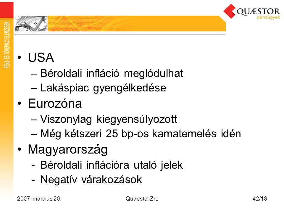 2007. március 20.Quaestor Zrt.42/13 •USA –Béroldali infláció meglódulhat –Lakáspiac gyengélkedése •Eurozóna –Viszonylag kiegyensúlyozott –Még kétszeri