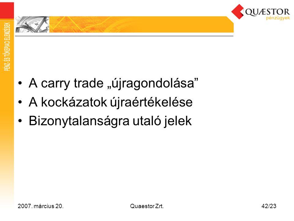"""2007. március 20.Quaestor Zrt.42/23 •A carry trade """"újragondolása"""" •A kockázatok újraértékelése •Bizonytalanságra utaló jelek"""