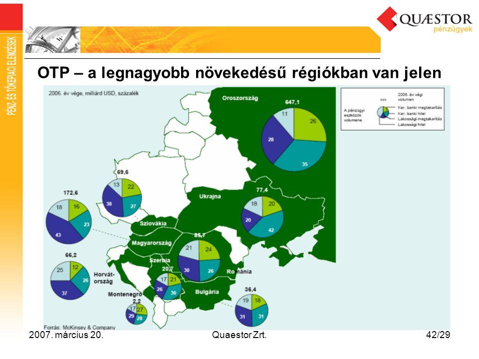 2007. március 20.Quaestor Zrt.42/29 OTP – a legnagyobb növekedésű régiókban van jelen
