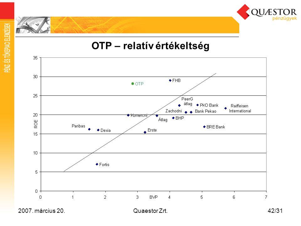 2007. március 20.Quaestor Zrt.42/31 OTP – relatív értékeltség