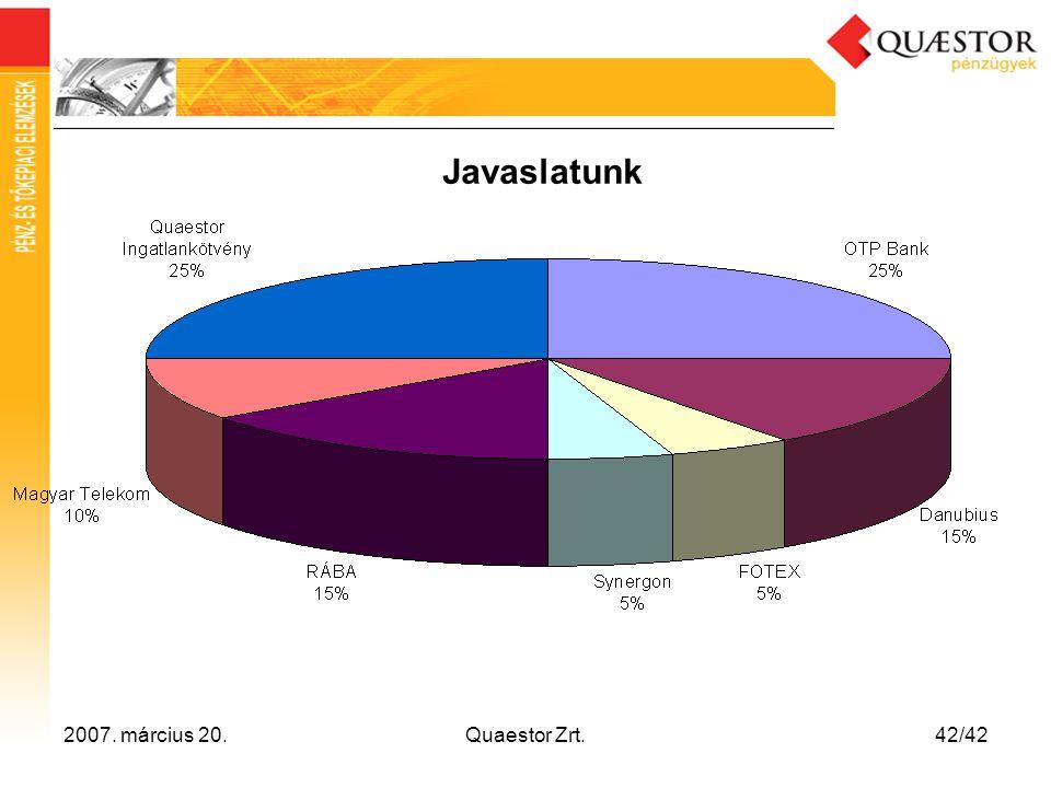 2007. március 20.Quaestor Zrt.42/42 Javaslatunk