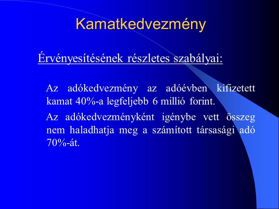Kamatkedvezmény Érvényesítésének részletes szabályai: Az adókedvezmény az adóévben kifizetett kamat 40%-a legfeljebb 6 millió forint. Az adókedvezmény