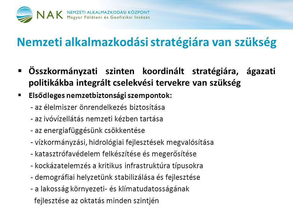 Nemzeti alkalmazkodási stratégiára van szükség  Összkormányzati szinten koordinált stratégiára, ágazati politikákba integrált cselekvési tervekre van