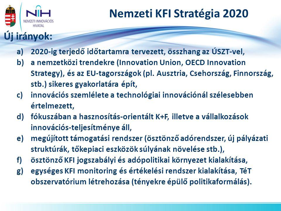 Nemzeti KFI Stratégia 2020 Új irányok: a)2020-ig terjedő időtartamra tervezett, összhang az ÚSZT-vel, b)a nemzetközi trendekre (Innovation Union, OECD