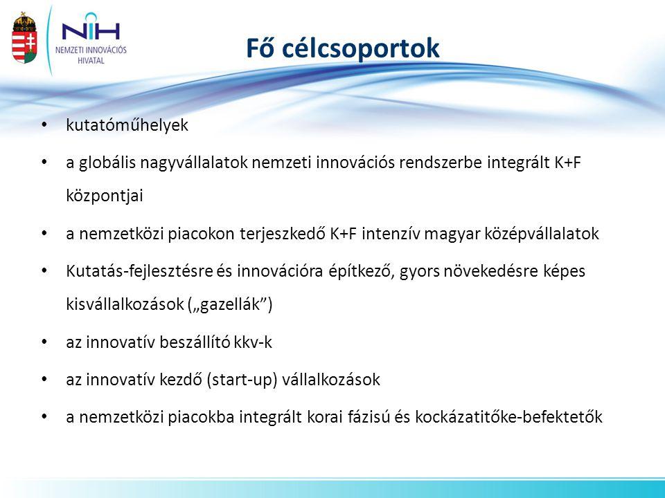 """• kutatóműhelyek • a globális nagyvállalatok nemzeti innovációs rendszerbe integrált K+F központjai • a nemzetközi piacokon terjeszkedő K+F intenzív magyar középvállalatok • Kutatás-fejlesztésre és innovációra építkező, gyors növekedésre képes kisvállalkozások (""""gazellák ) • az innovatív beszállító kkv-k • az innovatív kezdő (start-up) vállalkozások • a nemzetközi piacokba integrált korai fázisú és kockázatitőke-befektetők Fő célcsoportok"""