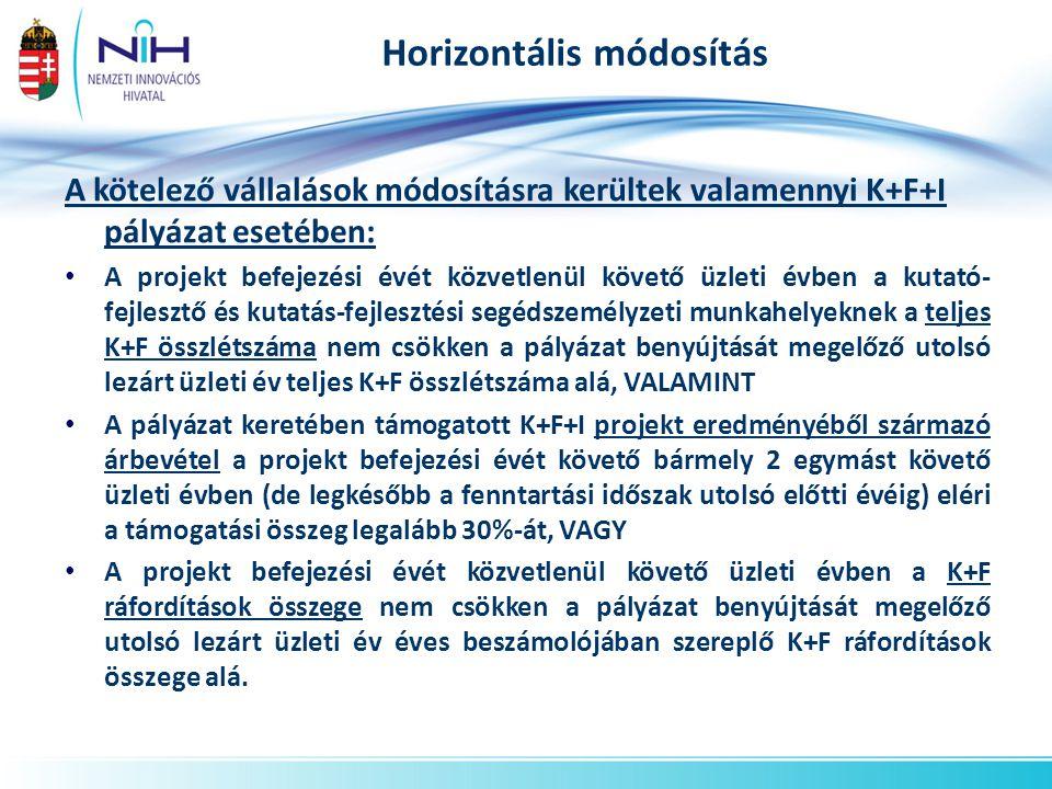 Horizontális módosítás A kötelező vállalások módosításra kerültek valamennyi K+F+I pályázat esetében: • A projekt befejezési évét közvetlenül követő ü
