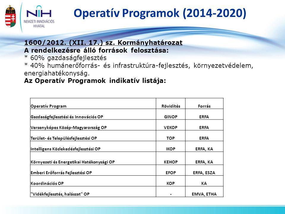 Operatív Programok (2014-2020) 1600/2012. (XII. 17.) sz. Kormányhatározat A rendelkezésre álló források felosztása: * 60% gazdaságfejlesztés * 40% hum