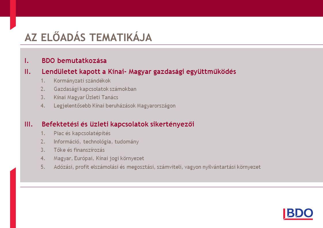 AZ ELŐADÁS TEMATIKÁJA I.BDO bemutatkozása II.Lendületet kapott a Kínai- Magyar gazdasági együttműködés 1.Kormányzati szándékok 2.Gazdasági kapcsolatok számokban 3.Kínai Magyar Üzleti Tanács 4.Legjelentősebb Kínai beruházások Magyarországon III.Befektetési és üzleti kapcsolatok sikertényezői 1.Piac és kapcsolatépítés 2.Információ, technológia, tudomány 3.Tőke és finanszírozás 4.Magyar, Európai, Kínai jogi környezet 5.Adózási, profit elszámolási és megosztási, számviteli, vagyon nyilvántartási környezet