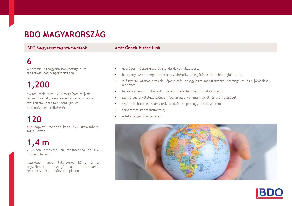 BDO MAGYARORSZÁG Amit Önnek biztosítunk • egységes módszereket és standardokat világszerte; • hatékony üzleti megoldásokat a szakértők, az eljárások és technológiák által; • világszerte azonos értékek képviseletét az egységes módszertanra, tréningekre és eljárásokra alapozva; • hatékony együttműködést, összefüggésekben való gondolkodást; • személyes elkötelezettséget, folyamatos kommunikációt és elérhetőséget; • szakértői hátteret számviteli, adózási és pénzügyi kérdésekben; • folyamatos kapcsolattartást; • értékarányos szolgáltatást.