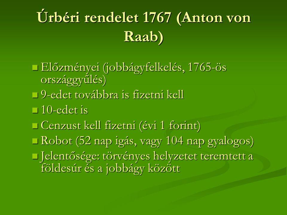  Előzményei (jobbágyfelkelés, 1765-ös országgyűlés)  9-edet továbbra is fizetni kell  10-edet is  Cenzust kell fizetni (évi 1 forint)  Robot (52
