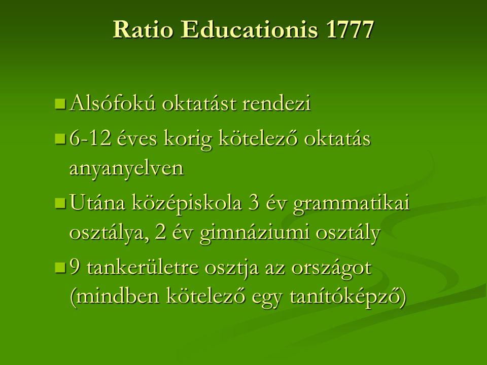 Ratio Educationis 1777  Alsófokú oktatást rendezi  6-12 éves korig kötelező oktatás anyanyelven  Utána középiskola 3 év grammatikai osztálya, 2 év