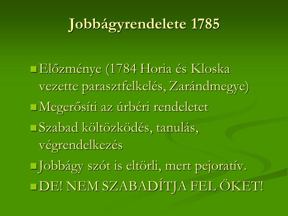 Jobbágyrendelete 1785  Előzménye (1784 Horia és Kloska vezette parasztfelkelés, Zarándmegye)  Megerősíti az úrbéri rendeletet  Szabad költözködés,