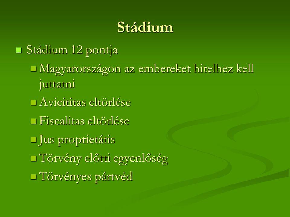 Stádium  Stádium 12 pontja  Magyarországon az embereket hitelhez kell juttatni  Avicititas eltörlése  Fiscalitas eltörlése  Jus proprietátis  Tö