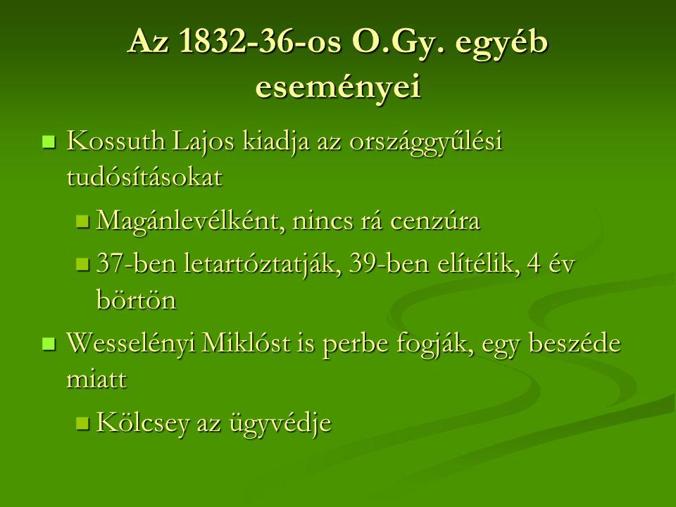 Az 1832-36-os O.Gy. egyéb eseményei  Kossuth Lajos kiadja az országgyűlési tudósításokat  Magánlevélként, nincs rá cenzúra  37-ben letartóztatják,