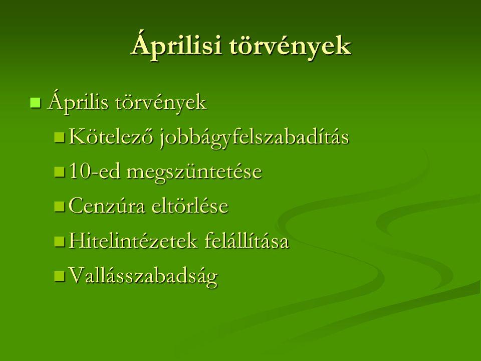 Áprilisi törvények  Április törvények  Kötelező jobbágyfelszabadítás  10-ed megszüntetése  Cenzúra eltörlése  Hitelintézetek felállítása  Vallás