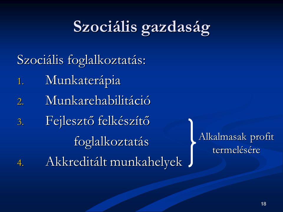 18 Szociális gazdaság Szociális foglalkoztatás: 1.