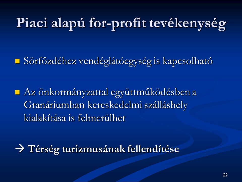 22 Piaci alapú for-profit tevékenység  Sörfőzdéhez vendéglátóegység is kapcsolható  Az önkormányzattal együttműködésben a Granáriumban kereskedelmi szálláshely kialakítása is felmerülhet  Térség turizmusának fellendítése
