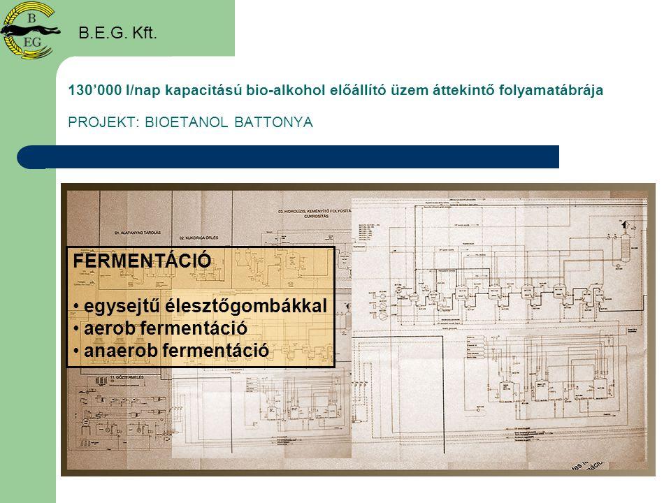 130'000 l/nap kapacitású bio-alkohol előállító üzem áttekintő folyamatábrája PROJEKT: BIOETANOL BATTONYA B.E.G. Kft. FERMENTÁCIÓ • egysejtű élesztőgom