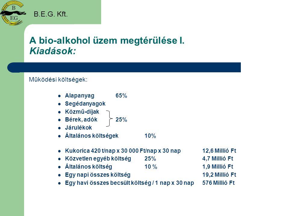 A bio-alkohol üzem megtérülése I. Kiadások: Működési költségek:  Alapanyag65%  Segédanyagok  Közmű-díjak  Bérek, adók25%  Járulékok  Általános k