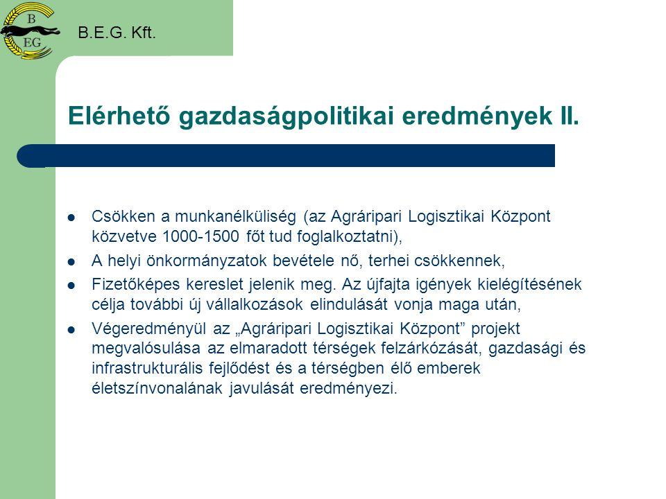 Elérhető gazdaságpolitikai eredmények II.  Csökken a munkanélküliség (az Agráripari Logisztikai Központ közvetve 1000-1500 főt tud foglalkoztatni), 