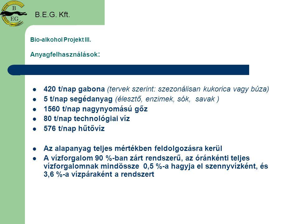 Bio-alkohol Projekt III. Anyagfelhasználások :  420 t/nap gabona (tervek szerint: szezonálisan kukorica vagy búza)  5 t/nap segédanyag (élesztő, enz
