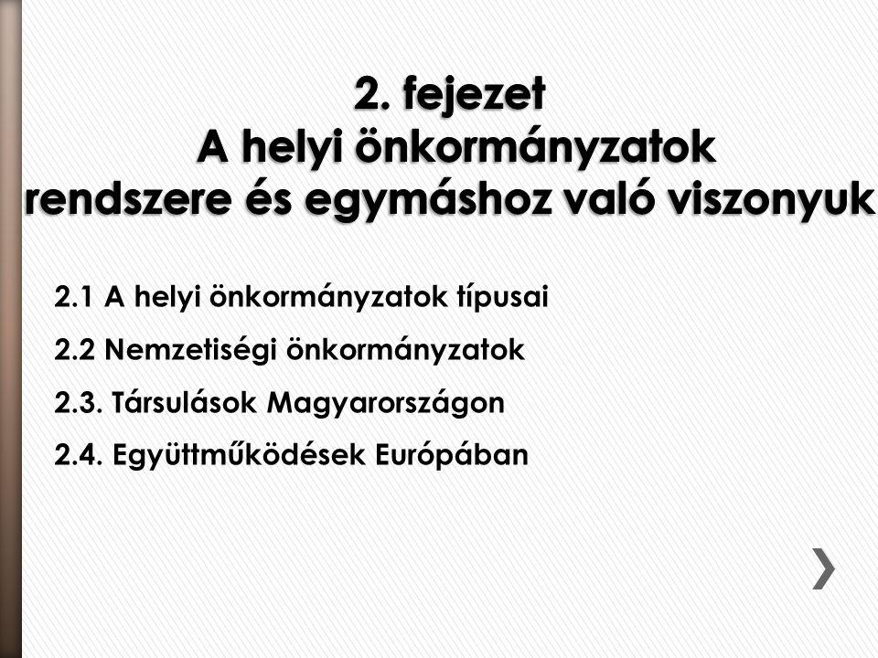 2.1 A helyi önkormányzatok típusai 2.2 Nemzetiségi önkormányzatok 2.3. Társulások Magyarországon 2.4. Együttműködések Európában