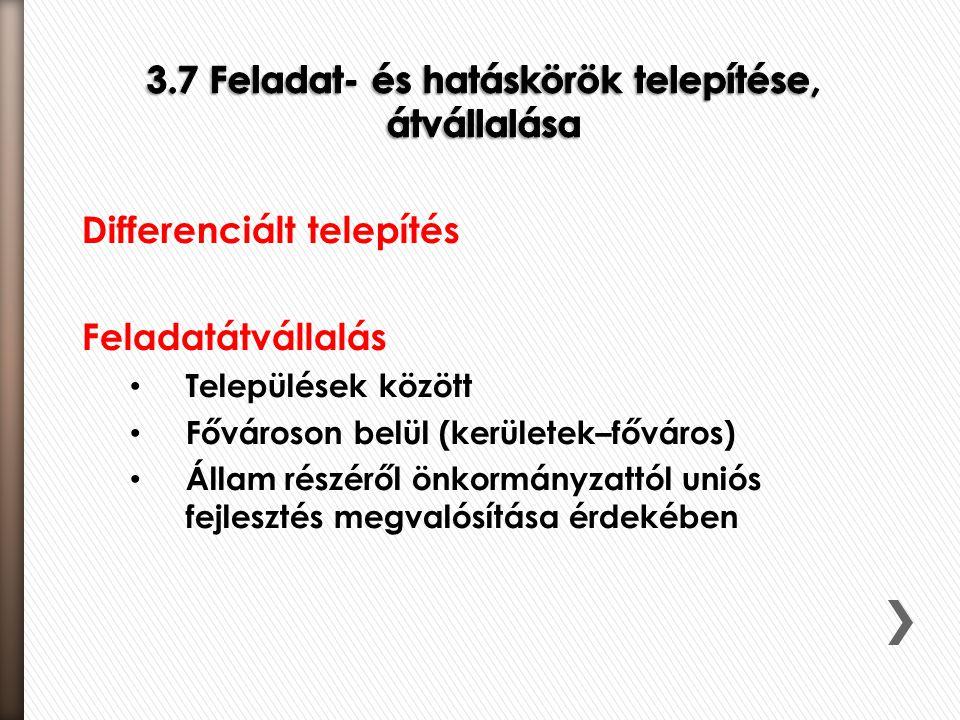 Differenciált telepítés Feladatátvállalás • Települések között • Fővároson belül (kerületek–főváros) • Állam részéről önkormányzattól uniós fejlesztés