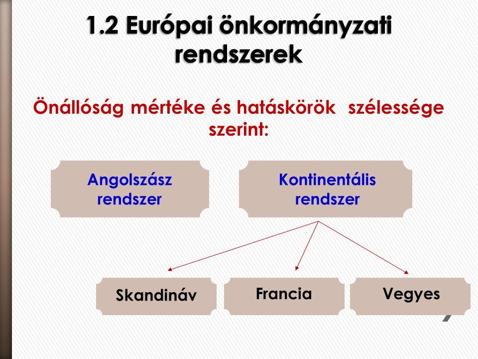 Önállóság mértéke és hatáskörök szélessége szerint: Angolszász rendszer Kontinentális rendszer Skandináv FranciaVegyes