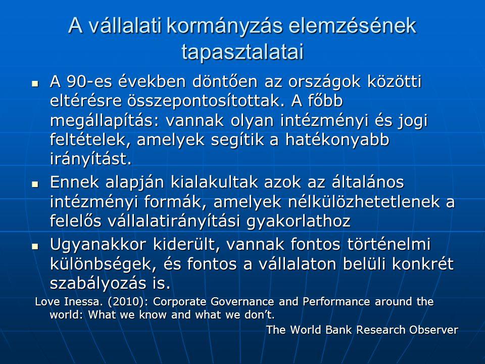 A vállalati kormányzás elemzésének tapasztalatai  A 90-es években döntően az országok közötti eltérésre összepontosítottak. A főbb megállapítás: vann