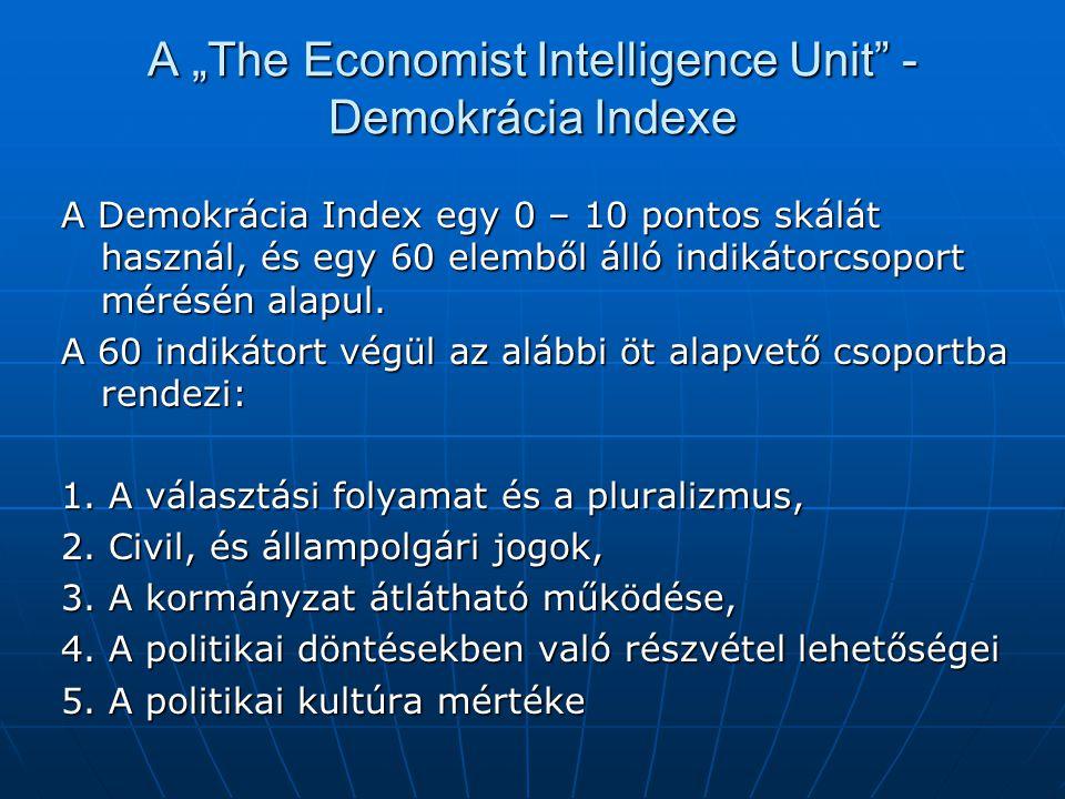 """A """"The Economist Intelligence Unit"""" - Demokrácia Indexe A Demokrácia Index egy 0 – 10 pontos skálát használ, és egy 60 elemből álló indikátorcsoport m"""