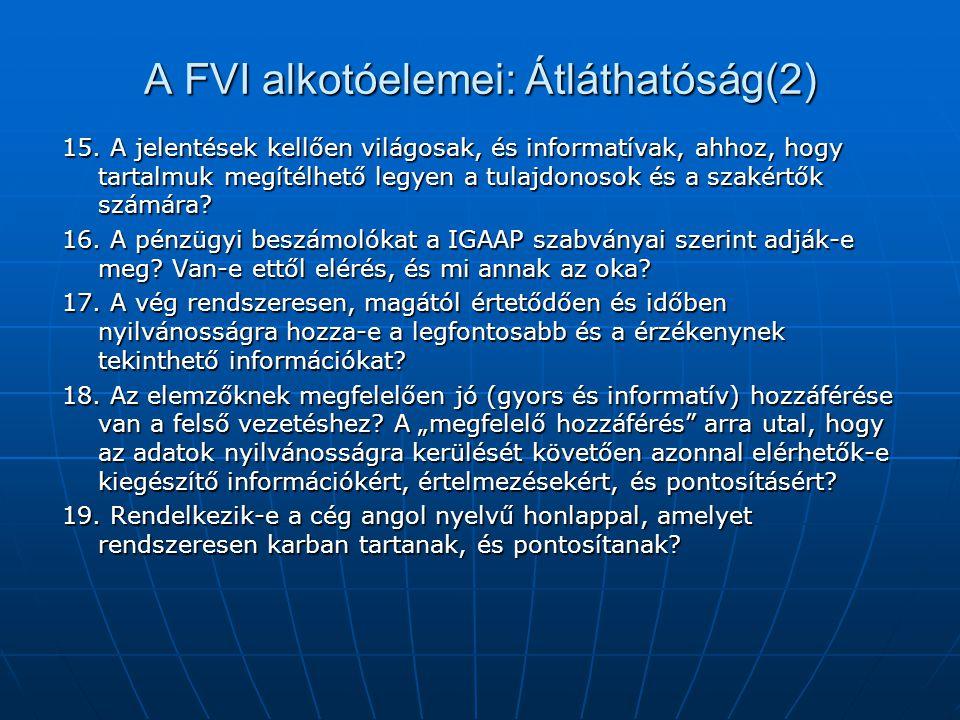 A FVI alkotóelemei: Átláthatóság(2) 15. A jelentések kellően világosak, és informatívak, ahhoz, hogy tartalmuk megítélhető legyen a tulajdonosok és a