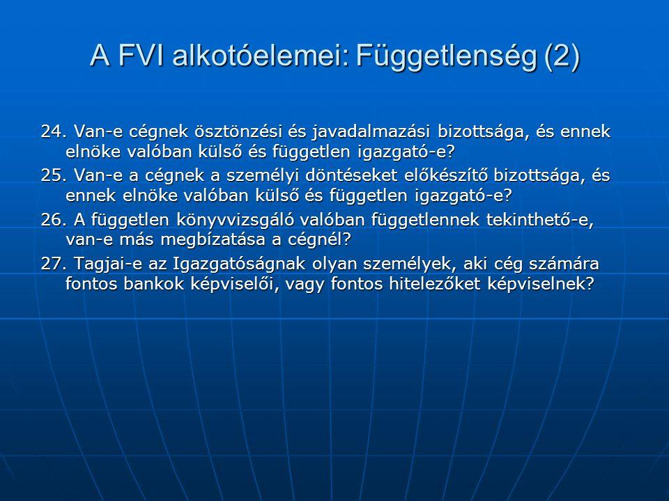 A FVI alkotóelemei: Függetlenség (2) 24. Van-e cégnek ösztönzési és javadalmazási bizottsága, és ennek elnöke valóban külső és független igazgató-e? 2
